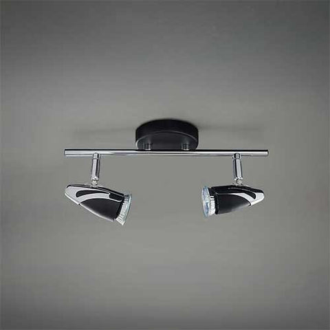 Bright Star Double Black Polished Chrome Spotlight S061/2 BK/CHR