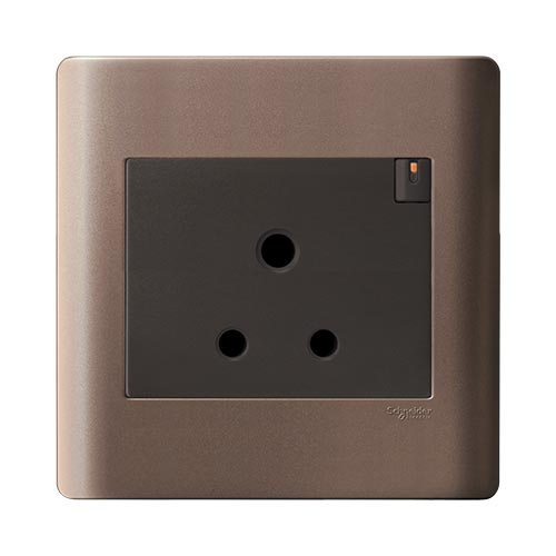Schneider Electric ZENcelo Single Switched Socket - Silver Bronze