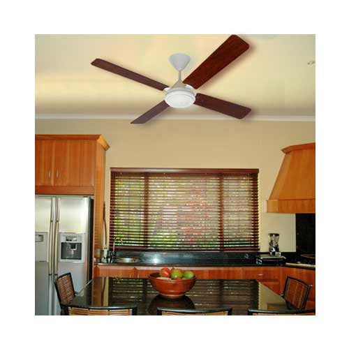 Solent High Breeze 4 Blade 1200 Ceiling Fan - Matt White & Mahogany