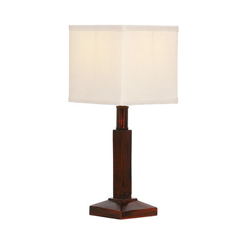 Resin Table Lamp With Square Cream Shade