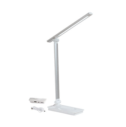 LED Silver Table Lamp with USB Port