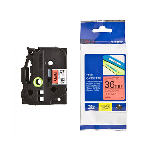 Brother TZe Laminated Tape Black/Red 36mm x 8m
