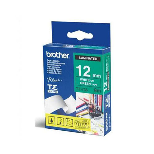 Brother TZe Laminated Tape White/Green 12mm x 8m