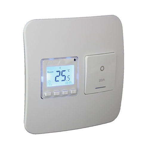VETi 1 Programmable Thermostat with Isolator Switch - 100 x 100mm White Modules
