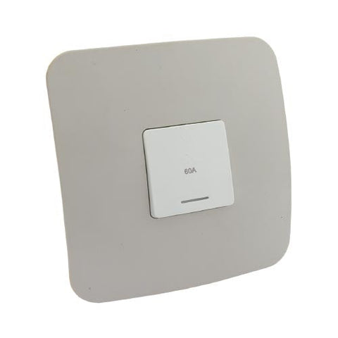 VETi 1 Triple Pole Isolator Switch with Indicator 60A 100 x 100mm - White module with a White Cover Plate