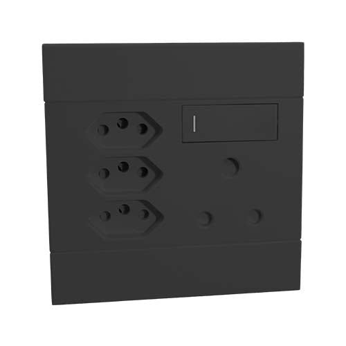 Veti 2 Switched Socket With Single Rsa 3 X Rsa V Slim Charcoal