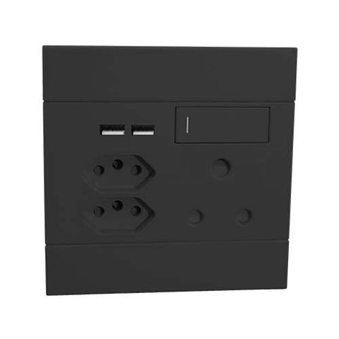 VETi 2 Single Switched RSA Socket with Dual USB & 2 x V-Slim Sockets - Charcoal