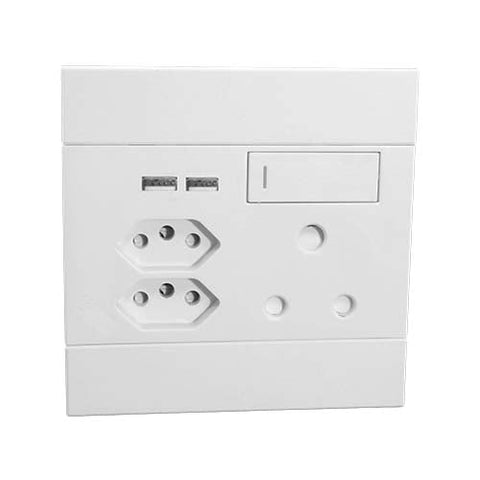 Veti 2 Switched Socket With Single Rsa Dual Usb 2 X Rsa V Slim White