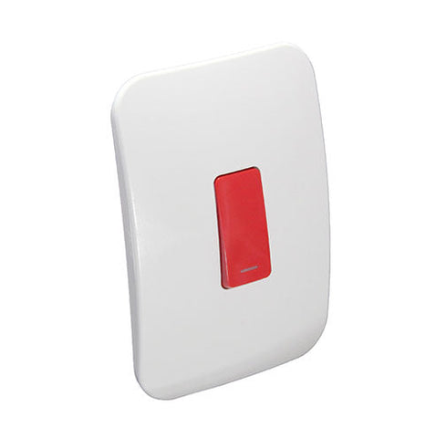 VETi 1 One Lever Bell Press Switch - Red module with a White Cover Plate