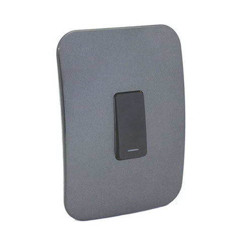 VETi 1 One Lever One-Way Light Switch - Black module with a Silver Cover Plate