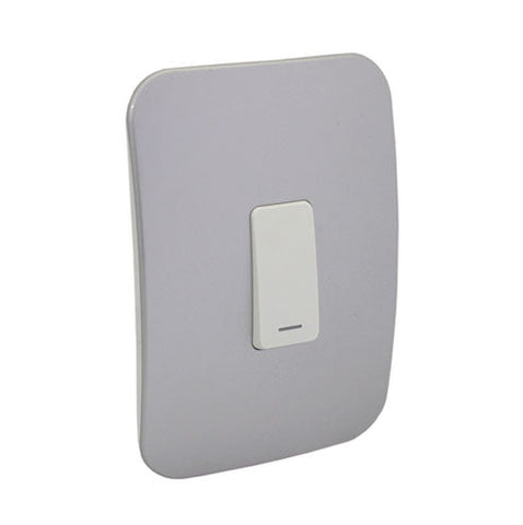 VETi 1 One Lever One-Way Light Switch - White module with a White Cover Plate