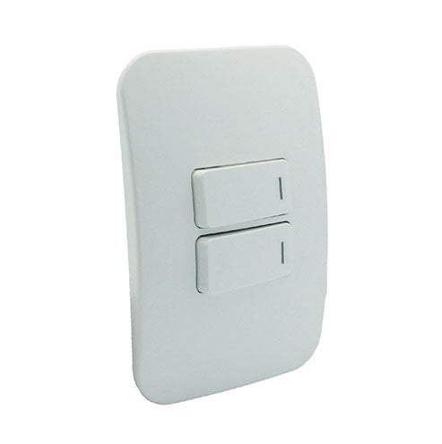 VETi 1 Two Lever One-Way Horizontal Light Switch - White Modules