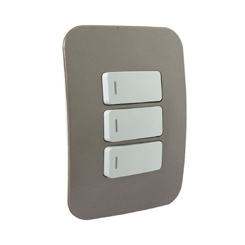 VETi 1 Three Lever One-Way Light Switch - White Modules
