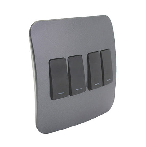 VETi 1 Four Lever One-Way Light Switch - Black Modules