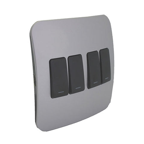 VETi 1 Four Lever One-Way Light Switch - Black modules with a Silver Cover Plate