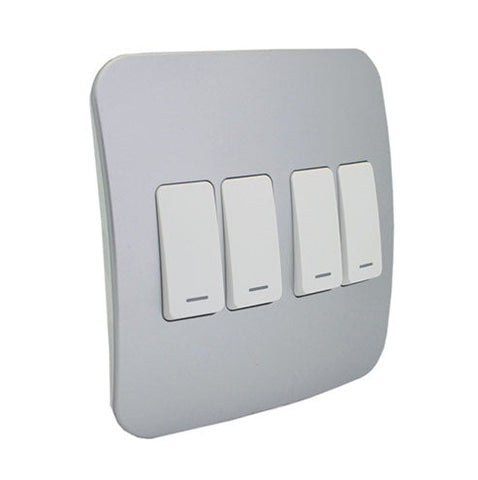 VETi 1 Four Lever One-Way Light Switch - White Modules