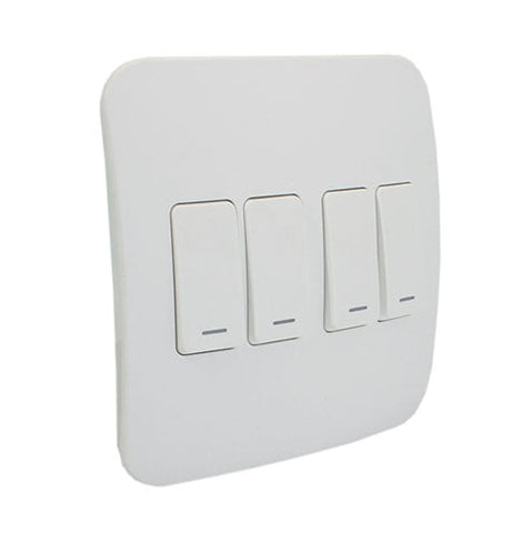 VETi 1 Four Lever One-Way Light Switch - White modules with a White Cover Plate