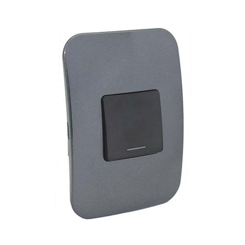 VETi 1 One Lever One-Way Light Switch - Black Double Module
