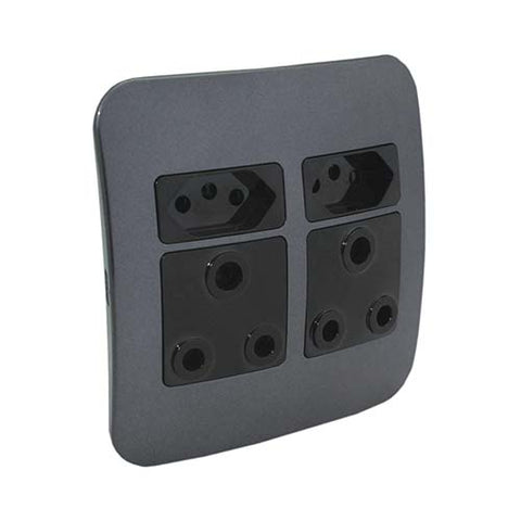 VETi 1 Double RSA and V-Slim Socket Outlet - Black modules with a Silver Cover Plate
