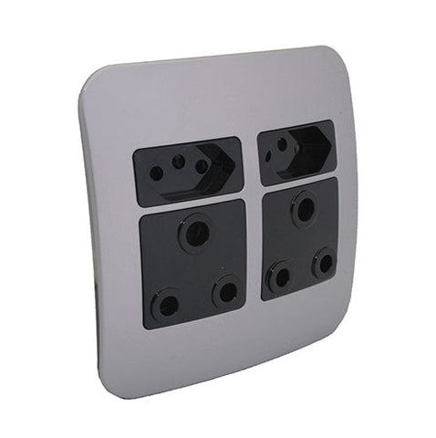 VETi 1 Double RSA and V-Slim Socket Outlet - Black Modules