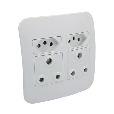 VETi 1 Double RSA and V-Slim Socket Outlet - White modules with a Silver Cover Plate