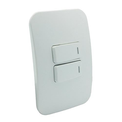 VETi 1 Two Lever One-Way Horizontal Light Switch with Locator - White Modules