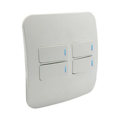 VETi 1 Four Lever One-Way Horizontal Light Switch with Locator - White Modules