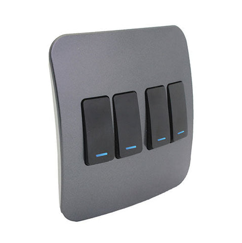 VETi 1 Four Lever One-Way Light Switch with Locator - Black Modules