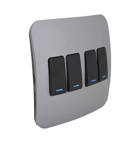 VETi 1 Four Lever One-Way Light Switch with Locator - Black modules with a Silver Cover Plate