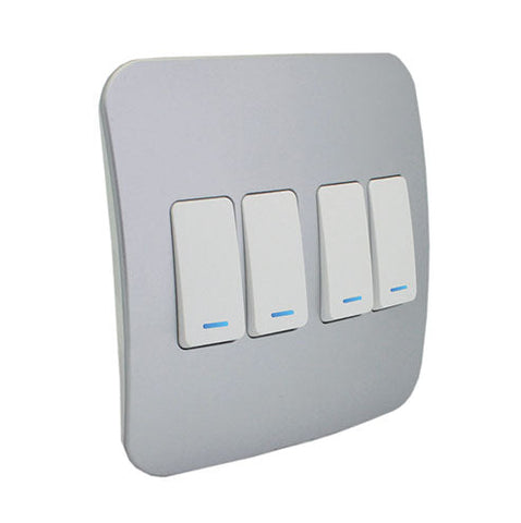 VETi 1 Four Lever One-Way Light Switch with Locator - White modules with a Silver Cover Plate