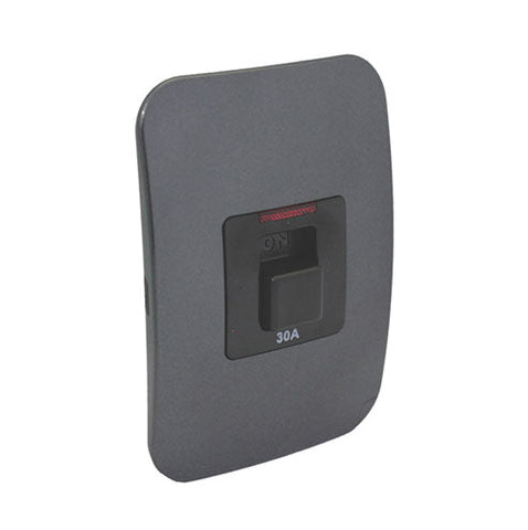 VETi 1 Double Pole Isolator Switch with Indicator 30A - Black Module - Black modules with a Silver Cover Plate