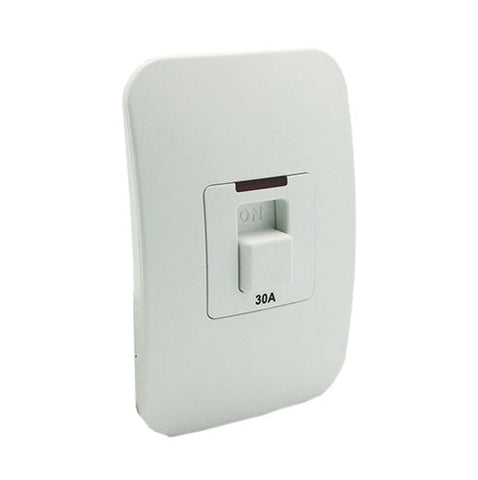 VETi 1 Double Pole Isolator Switch with Indicator 30A - White Module - White modules with a Champagne Cover Plate