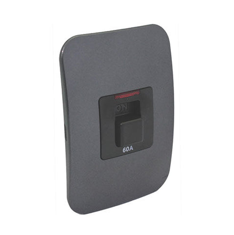 VETi 1 Triple Pole Isolator Switch with Indicator 60A - Black module with a Silver Cover Plate