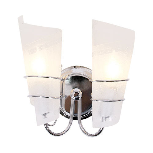 Polished Chrome Wall Bracket With Frosted Crackled Glass