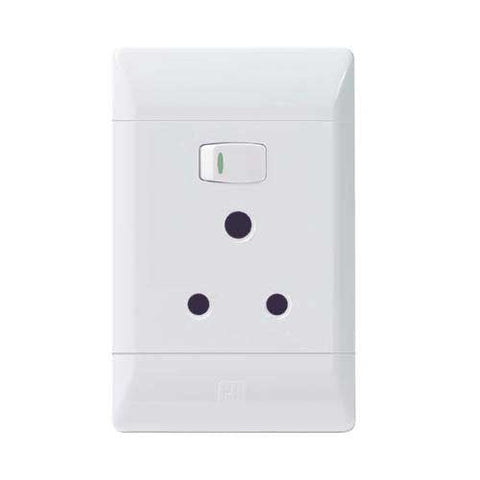 CBi PVC Single Switched Socket Vertical PS672-P