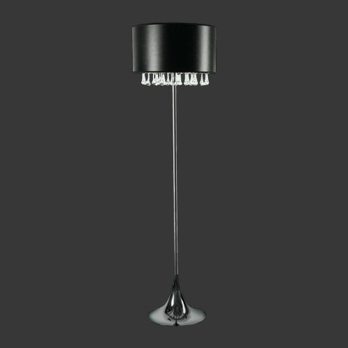 Floor Lamp with Black & Silver Shade and Clear Drop Glasses
