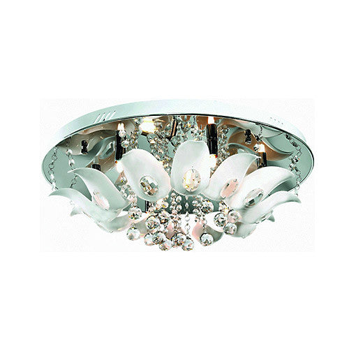 Bright Star Lighting Polished Chrome With White Floral Perspex And Crystal Fittings