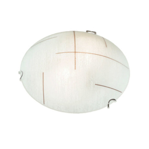 Bright Star Frosted Patterned Glass with Polished Chrome Clips and Simple Line pattern Ceiling Light 300mm