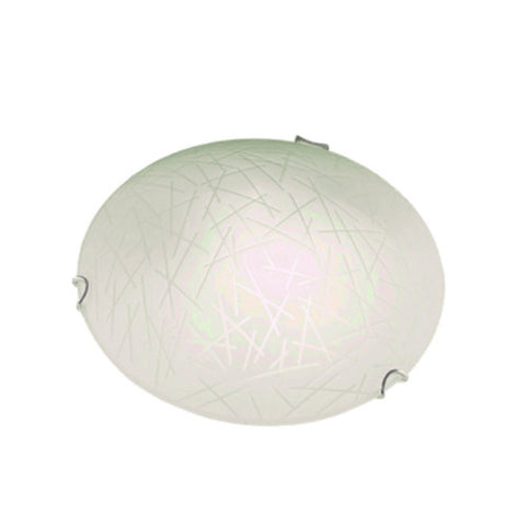 Bright Star Frosted orgánico Patterned Glass with Polished Chrome Clips Ceiling Light 300mm