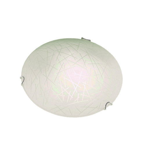 Bright Star Frosted orgánico Patterned Glass with Polished Chrome Clips Ceiling Light 250mm
