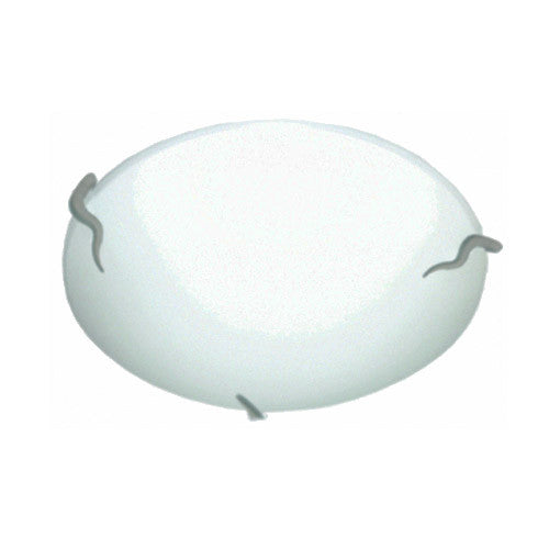 Bright Star Plain Frosted Glass with Twisted Metal Clips Ceiling fitting Large