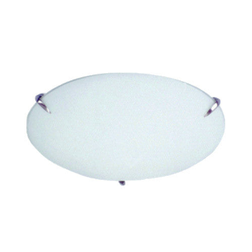 Bright Star Plain Frosted Glass with Straight Metal Clips Ceiling fitting Small