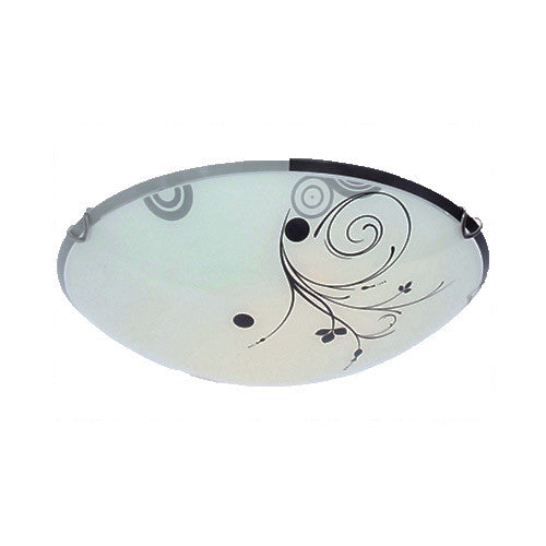 Bright Star Lighting Spiral Floral Patterned Frosted Glass With Chrome Clips Ceiling Light 250mm