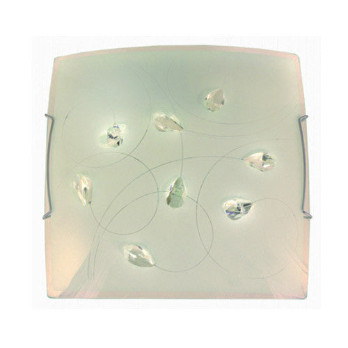 Bright Star Lighting Frosted Floral Patterned Glass With Crystals And Polished Chrome Clips