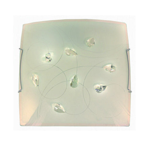 Bright Star Frosted Floral Patterned Glass with Crystals and Polished Chrome Clips