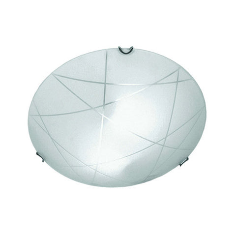 Bright Star Frosted Linear Patterned Glass with Polished Chrome Clips Ceiling Light 320mm