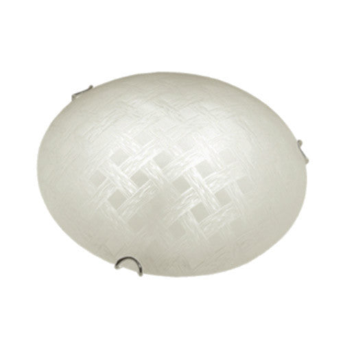 Bright Star Frosted Cestino Patterned Glass with Polished Chrome Clips Ceiling Light 300mm