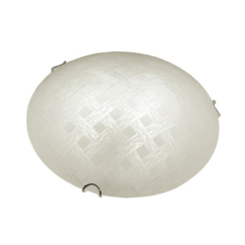 Bright Star Frosted Cestino Patterned Glass with Polished Chrome Clips Ceiling Light 250mm