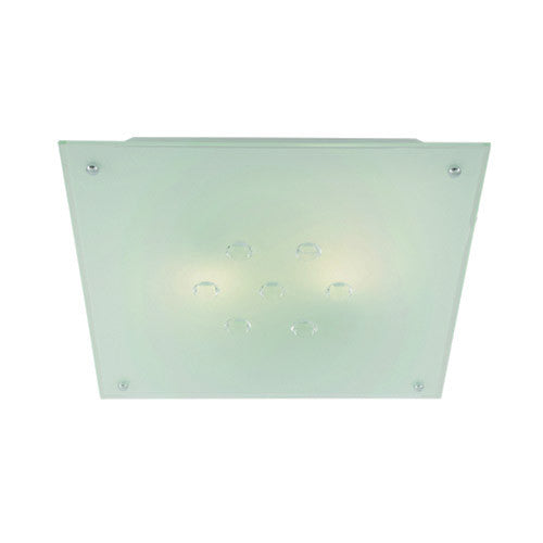 Bright Star Metal Base with Frosted Glass and Crystals Square Ceiling Light 340mm