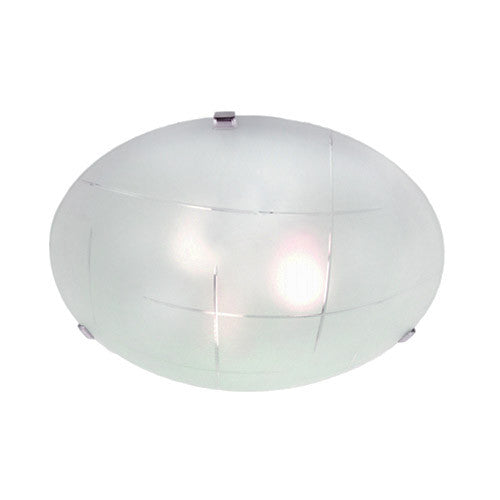 Bright Star Lighting Metal Base With Patterned Frosted Glass And Chrome Clips Ceiling Light 300mm
